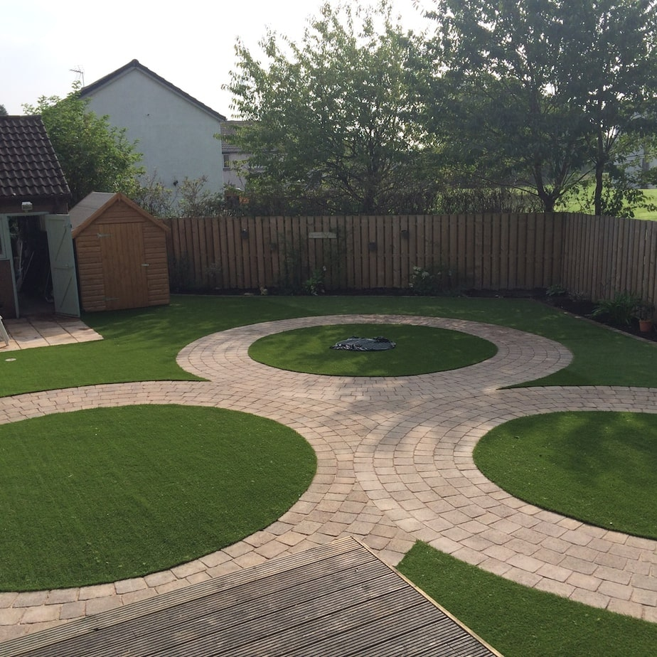 Artificial Grass with Tegula Paving Edinburgh EH12 The