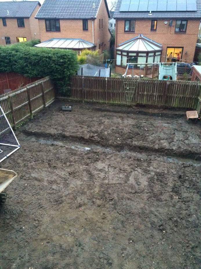 field drain in garden